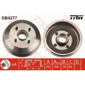 1 Stück TRW DB4277 Bremstrommel