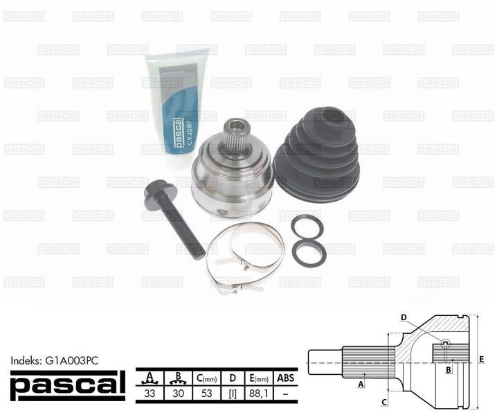 Antriebswelle PASCAL G10022PC Gelenksatz