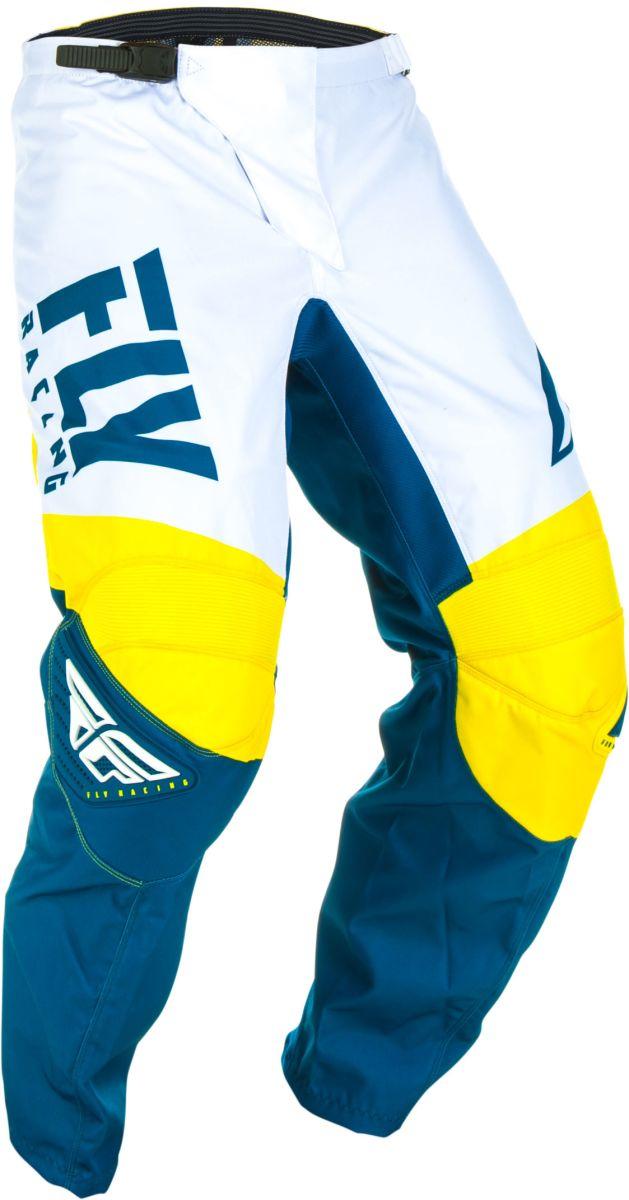 Spodnie crossenduro FLY RACING F 16 kolor białyniebieskiżółty