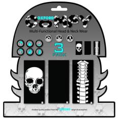 Kołnierz ocieplający OXFORD SKELETON kolor czarny/niebieski/szary, rozmiar OS 3-pack