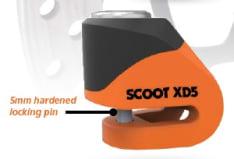 Blokada tarczy hamulcowej OXFORD Scoot XD5 kolor pomarańczowy pin 5mm