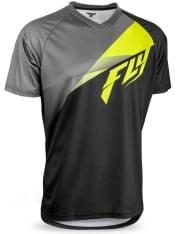 Koszulka rowerowa FLY SUPER D kolor czarny/szary/żółty