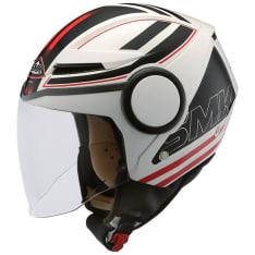 Kask otwarty SMK STREEM SONIC GL123 kolor biały/czarny/czerwony