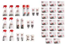 Środek do pielęgnacji AUTOLAND MC CARE zestaw kosmetyków motocyklowych z ekspozytorem, w skład wchodzą wszystkie produkty po 2 szt a chusteczek do kasków 15 szt
